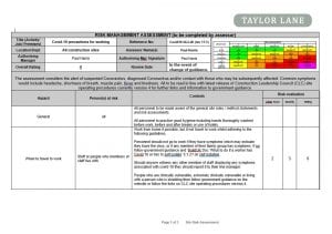 Site Covid Risk Assessment